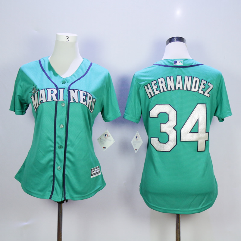 Women Seattle Mariners 34 Hernandez Green MLB Jerseys