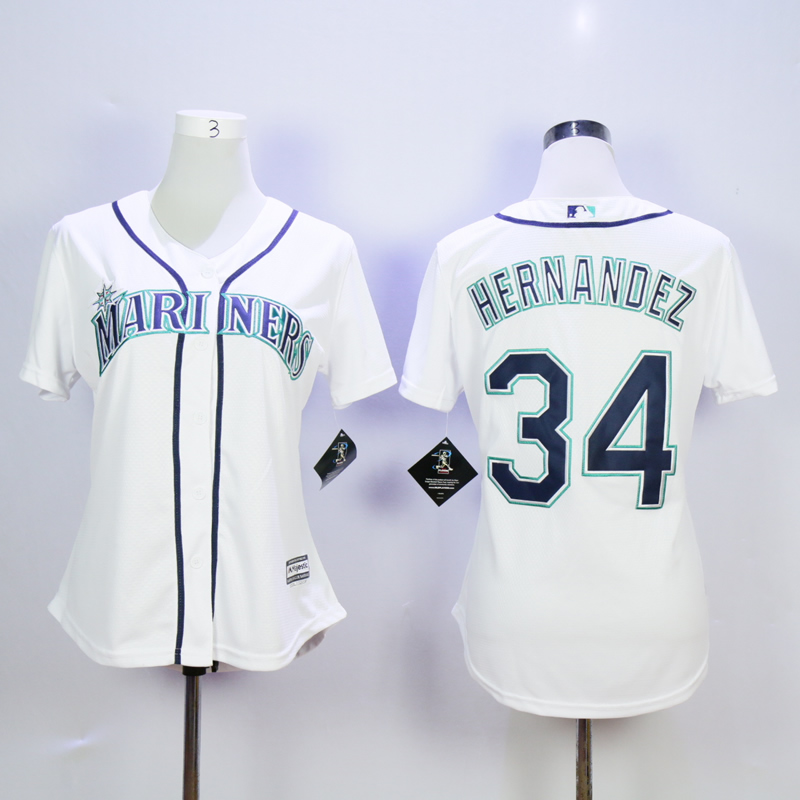Women Seattle Mariners 34 Hernandez White MLB Jerseys