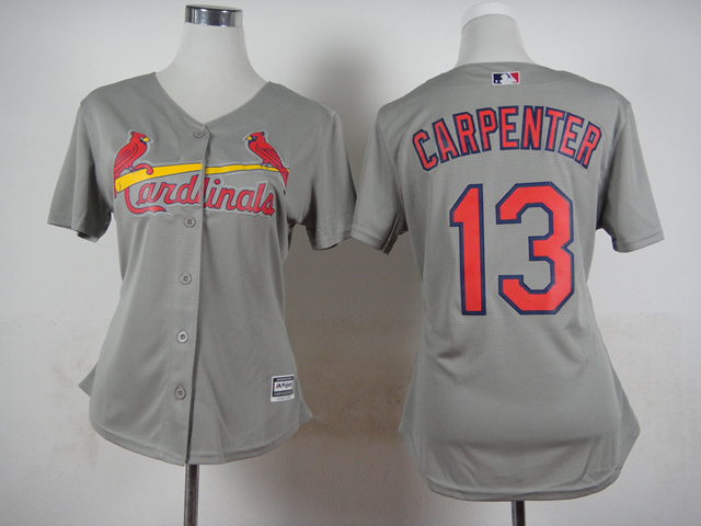 Women St. Louis Cardinals 13 Carpenter Grey MLB Jerseys