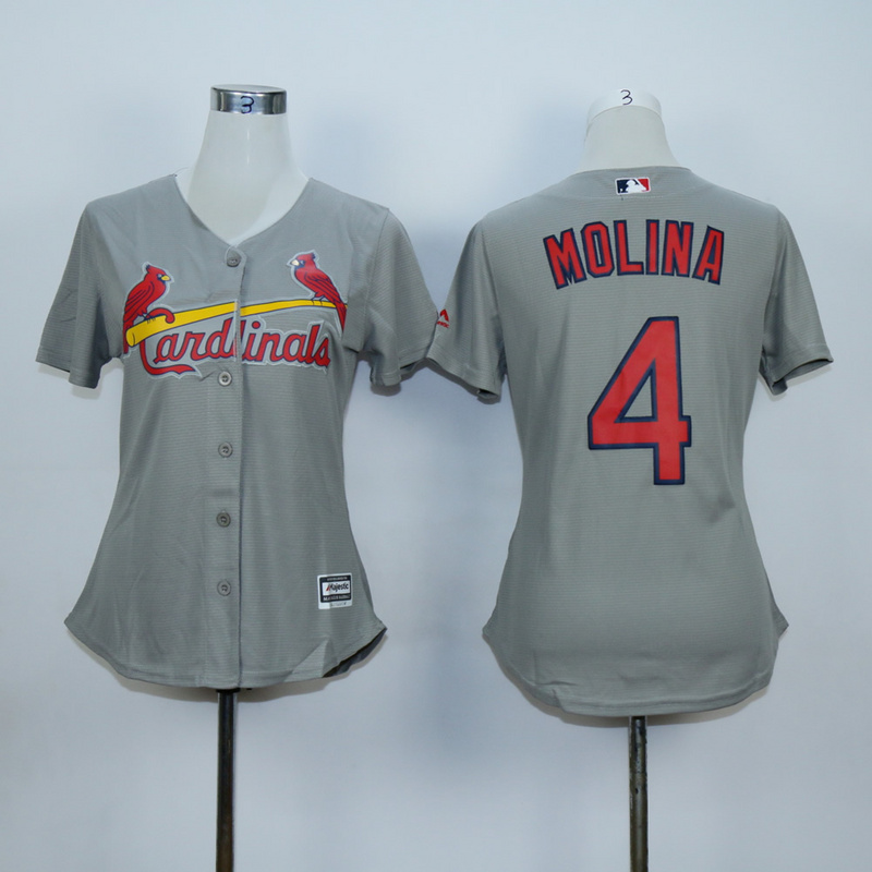 Women St. Louis Cardinals 4 Molina Grey MLB Jerseys