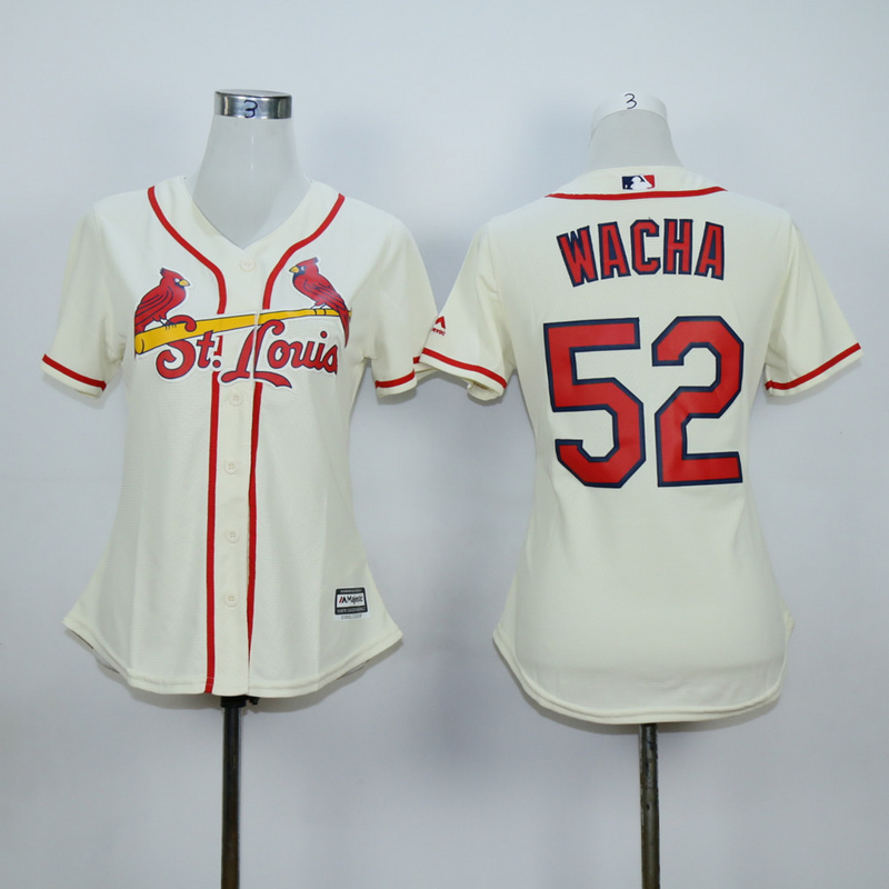 Women St. Louis Cardinals 52 Wacha Cream MLB Jerseys