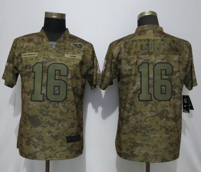 Women St.Louis Rams 16 Goff Nike Camo Salute to Service Limited NFL Jerseys
