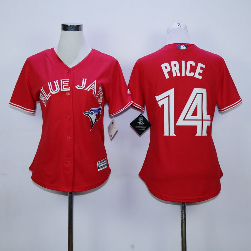 Women Toronto Blue Jays 14 Price Red MLB Jerseys
