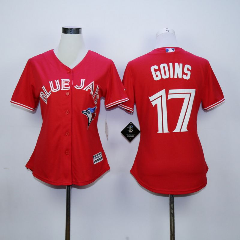 Women Toronto Blue Jays 17 Goins Red MLB Jerseys