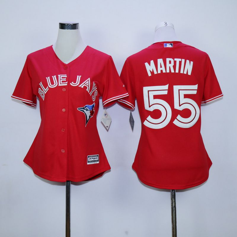Women Toronto Blue Jays 55 Martin Red MLB Jerseys