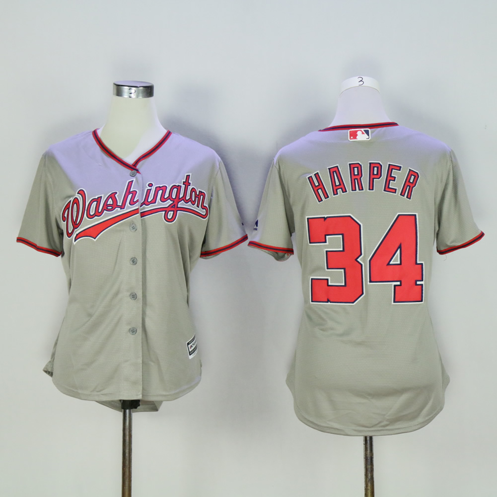Women Washington Nationals 34 Harper Grey MLB Jerseys
