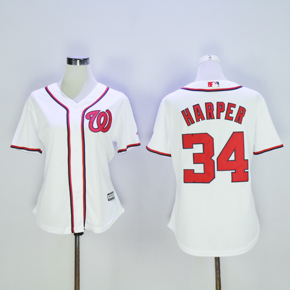 Women Washington Nationals 34 Harper White MLB Jerseys
