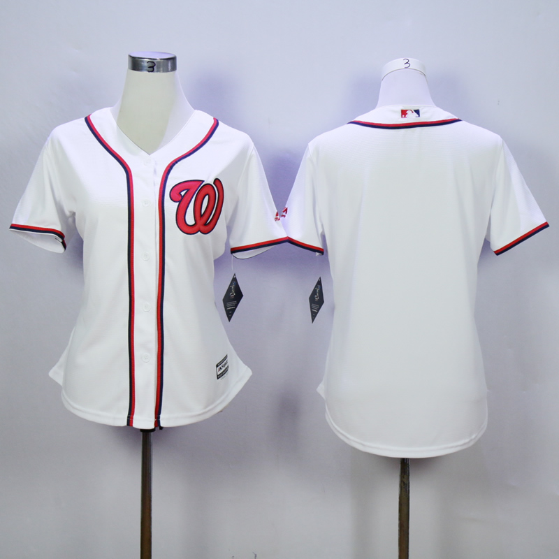Women Washington Nationals Blank White MLB Jerseys