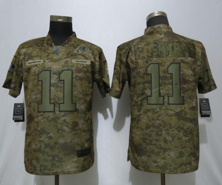 Women Washington Red Skins 11 Smith Nike Camo Salute to Service Limited NFL Jersey