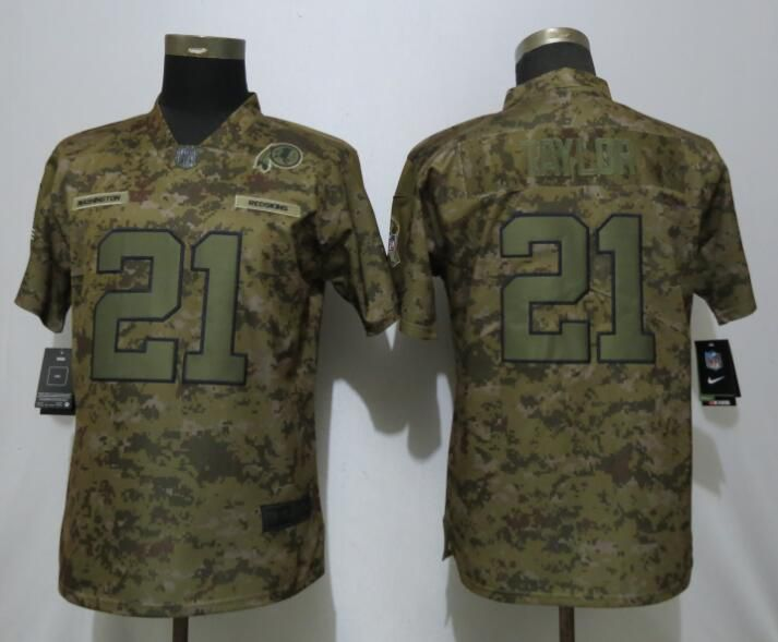 Women Washington Red Skins 21 Taylor Nike Camo Salute to Service Limited NFL Jersey