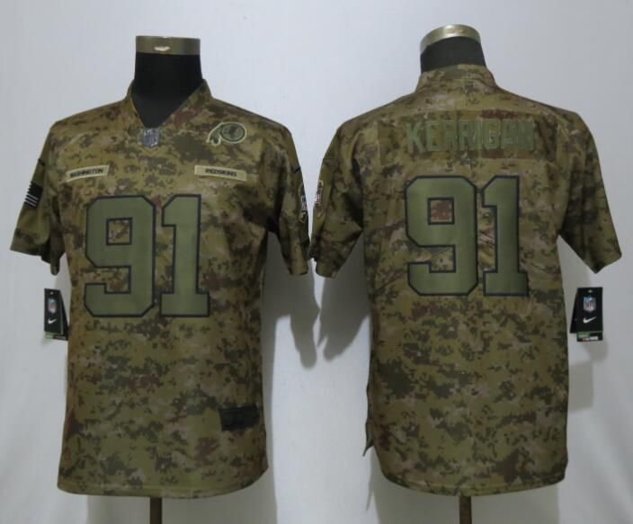 Women Washington Red Skins 91 Kerrigan Nike Camo Salute to Service Limited NFL Jersey
