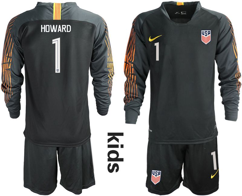 Youth 2018-2019 National Team USA black long sleeve goalkeeper 1 soccer jerseys