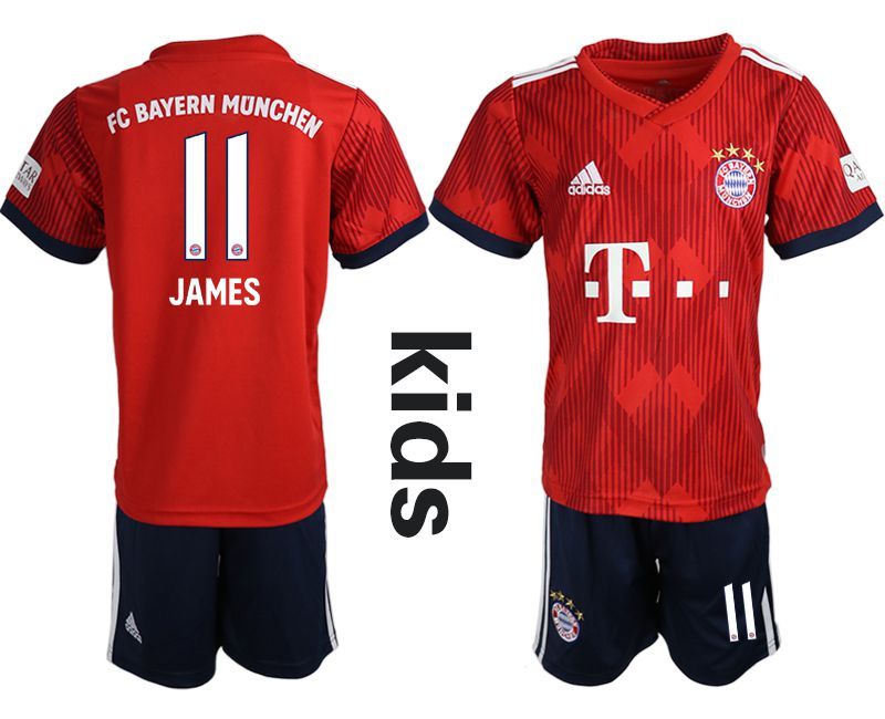Youth 2018-2019 club Bayern Munich home 11 red soccer jerseys