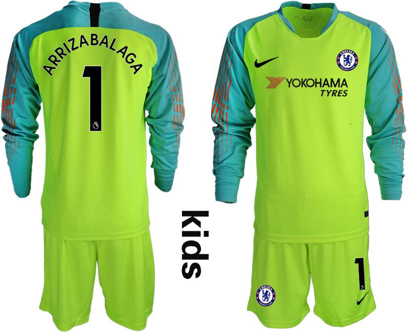Youth 2018-2019 club Chelsea fluorescent green long sleeve goalkeeper 1 soccer jerseys