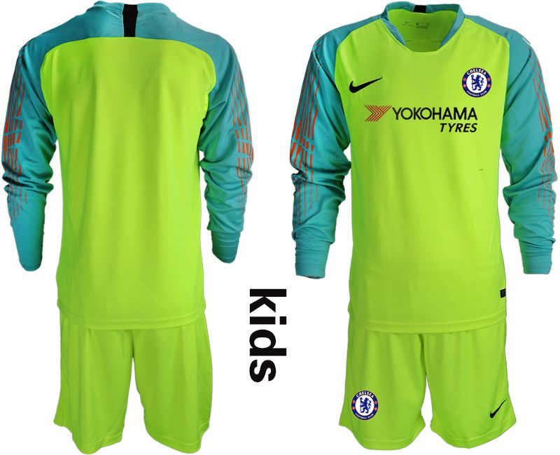 Youth 2018-2019 club Chelsea fluorescent green long sleeve goalkeeper soccer jerseys