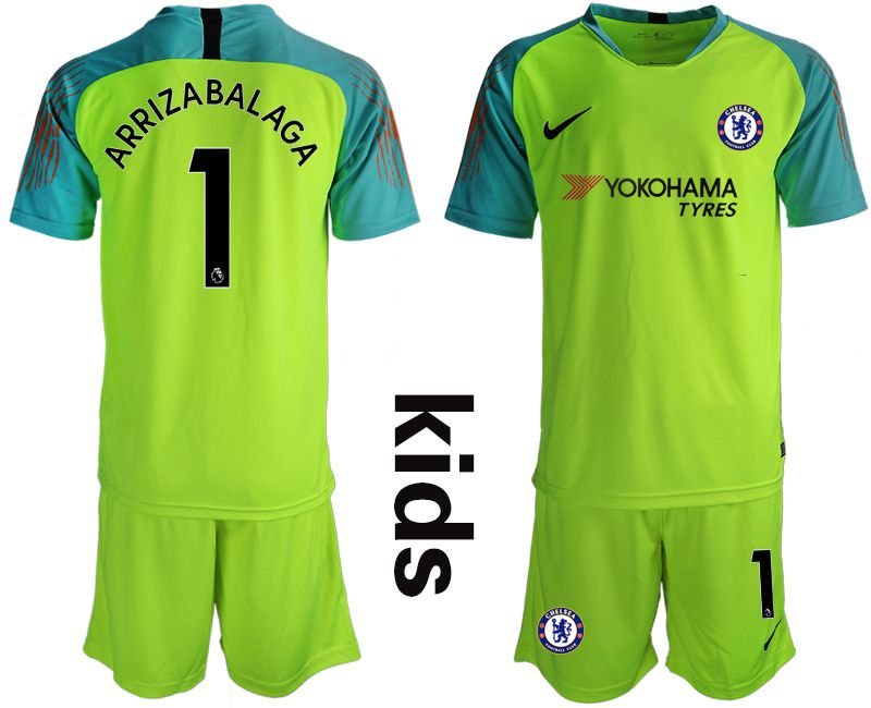 Youth 2018-2019 club Chelsea fluorescent greengoalkeeper 1 soccer jersey