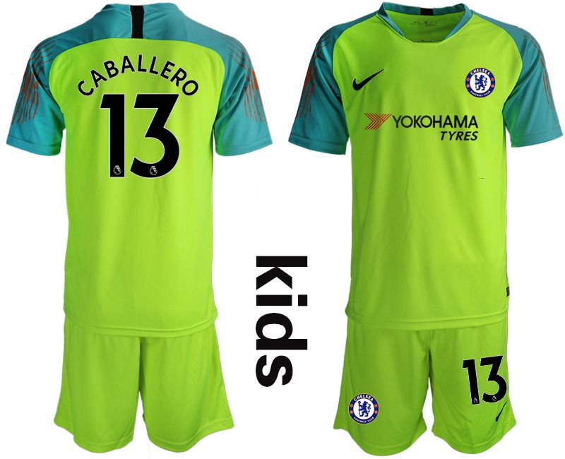 Youth 2018-2019 club Chelsea fluorescent greengoalkeeper 13 soccer jersey