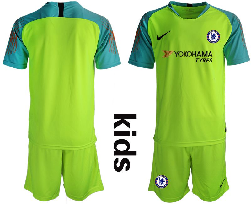 Youth 2018-2019 club Chelsea fluorescent greengoalkeeper soccer jersey