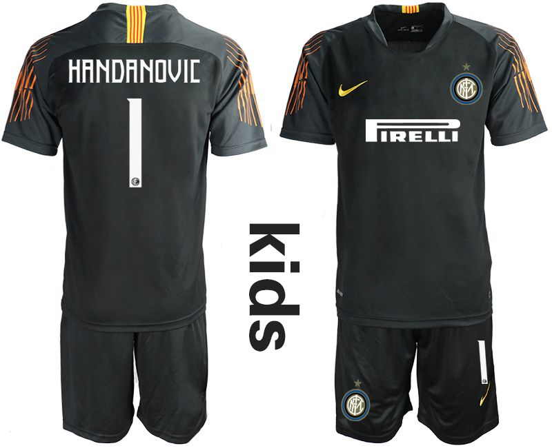 Youth 2018-2019 club Inter Milan black goalkeeper 1 Soccer Jerseys
