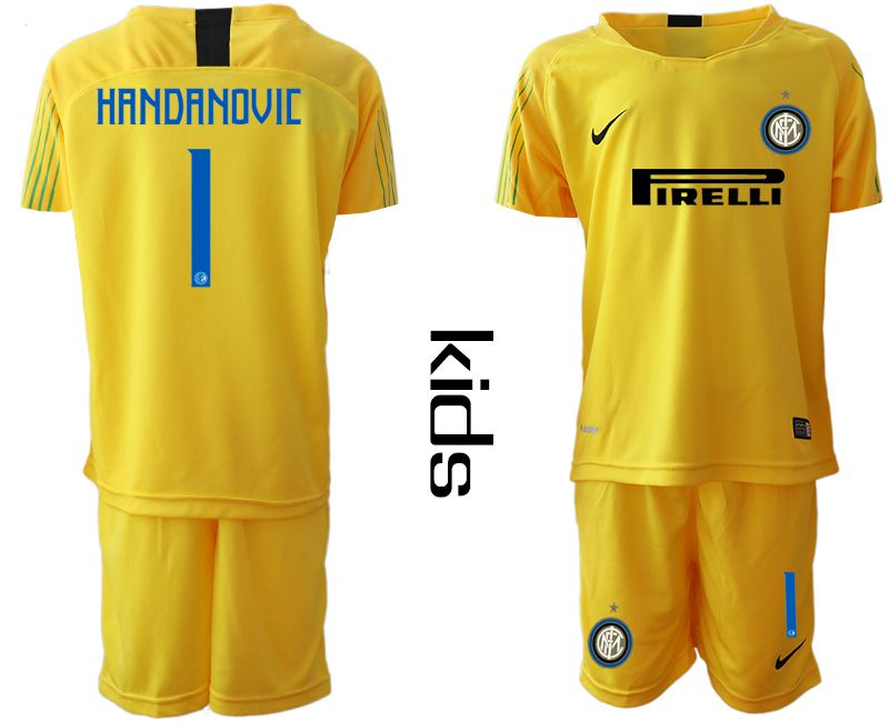 Youth 2018-2019 club Inter Milan yellow goalkeeper 1 Soccer Jerseys