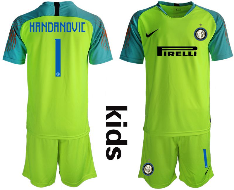 Youth 2018-2019 club Inter milan long sleeve fluorescent green goalkeeper 1 Soccer Jerseys