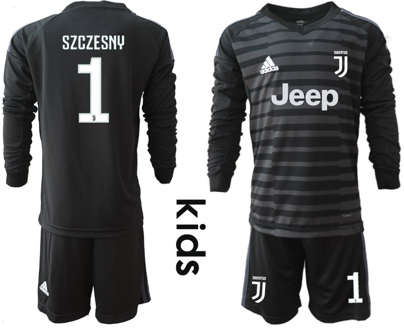 Youth 2018-2019 club Juventus black long sleeve goalkeeper 1 soccer jersey1