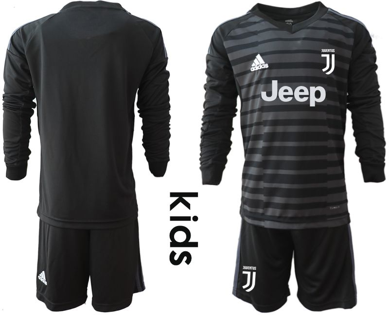Youth 2018-2019 club Juventus black long sleeve goalkeeper soccer jersey