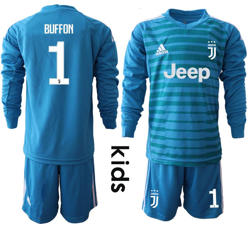 Youth 2018-2019 club Juventus blue goalkeeper Long sleeve 1 soccer jersey