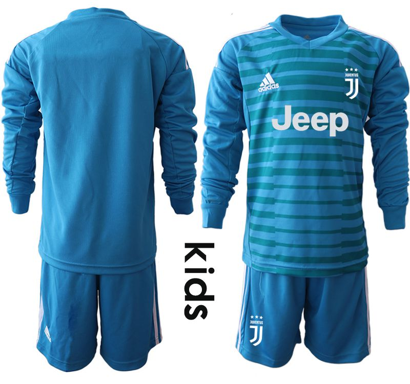 Youth 2018-2019 club Juventus blue goalkeeper Long sleeve soccer jersey