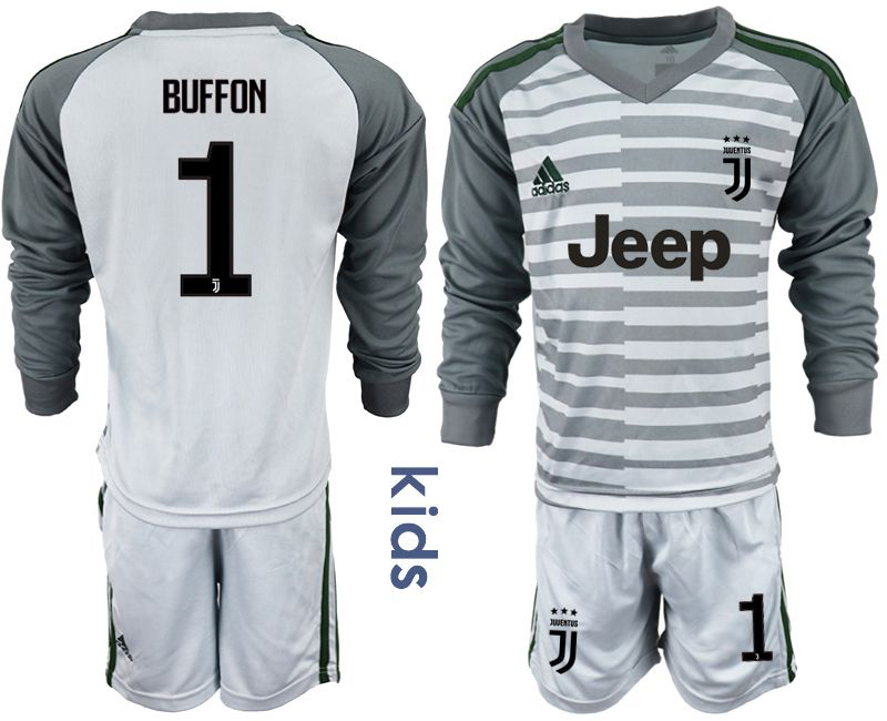Youth 2018-2019 club Juventus gray long sleeve goalkeeper 1 soccer jersey