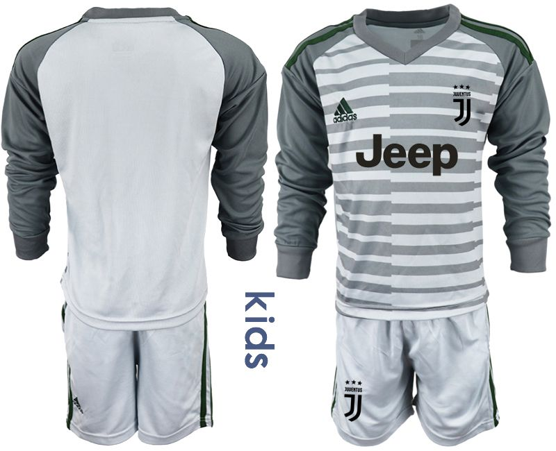 Youth 2018-2019 club Juventus gray long sleeve goalkeeper soccer jersey