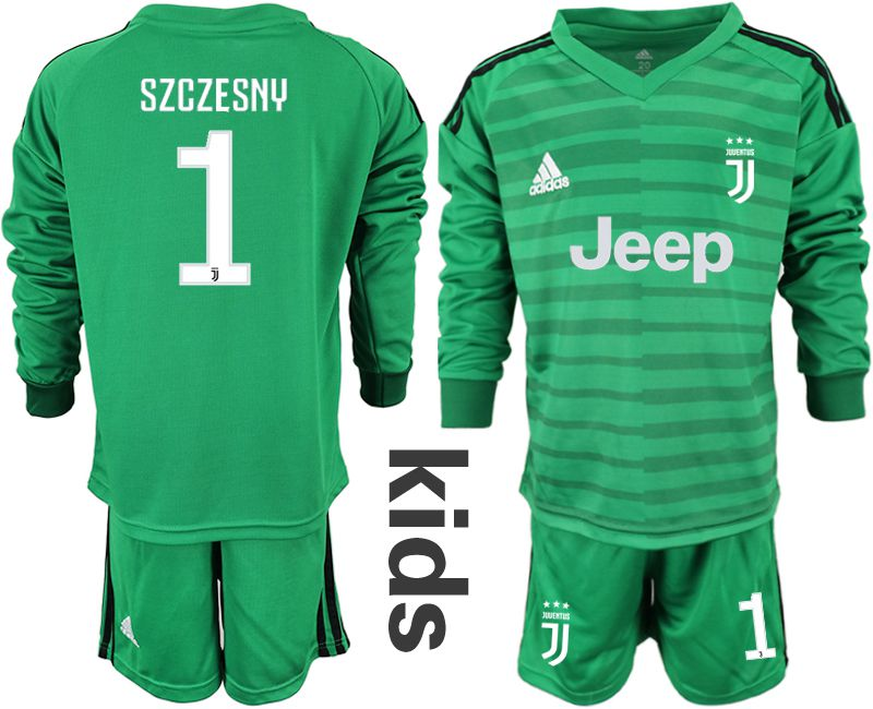 Youth 2018-2019 club Juventus green long sleeve goalkeeper 1 soccer jersey