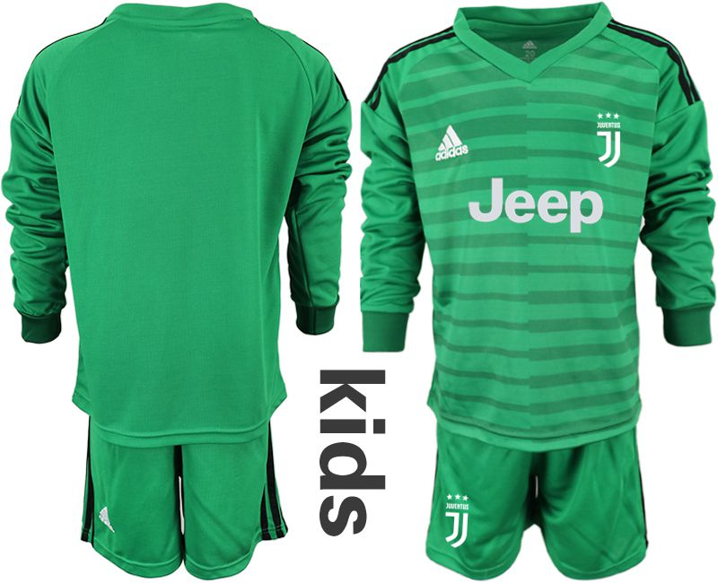 Youth 2018-2019 club Juventus green long sleeve goalkeeper soccer jersey