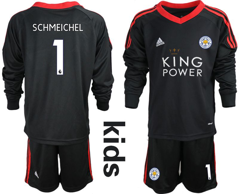 Youth 2018-2019 club Leicester City black long sleeve goalkeeper 1 Soccer Jerseys