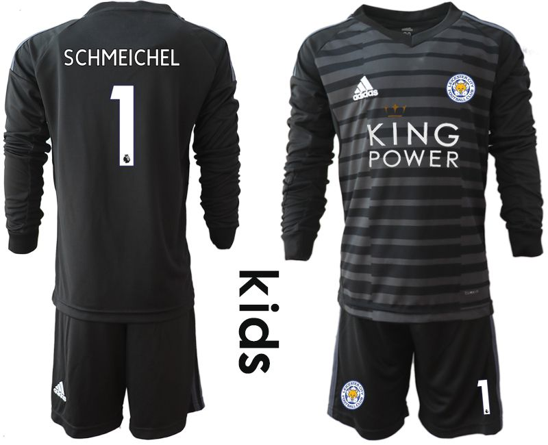 Youth 2018-2019 club Leicester City black long sleeve goalkeeper 1 Soccer Jerseys1