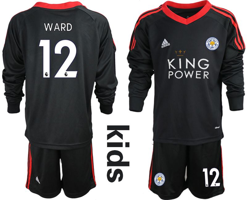 Youth 2018-2019 club Leicester City black long sleeve goalkeeper 12 Soccer Jerseys