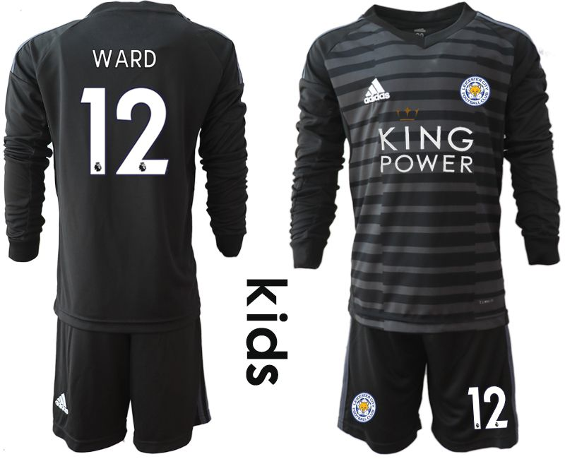 Youth 2018-2019 club Leicester City black long sleeve goalkeeper 12 Soccer Jerseys1