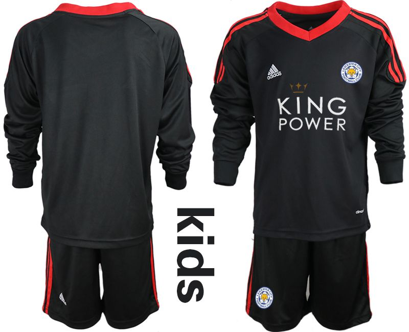 Youth 2018-2019 club Leicester City black long sleeve goalkeeper Soccer Jerseys
