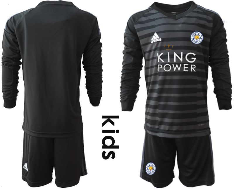 Youth 2018-2019 club Leicester City black long sleeve goalkeeper Soccer Jerseys1