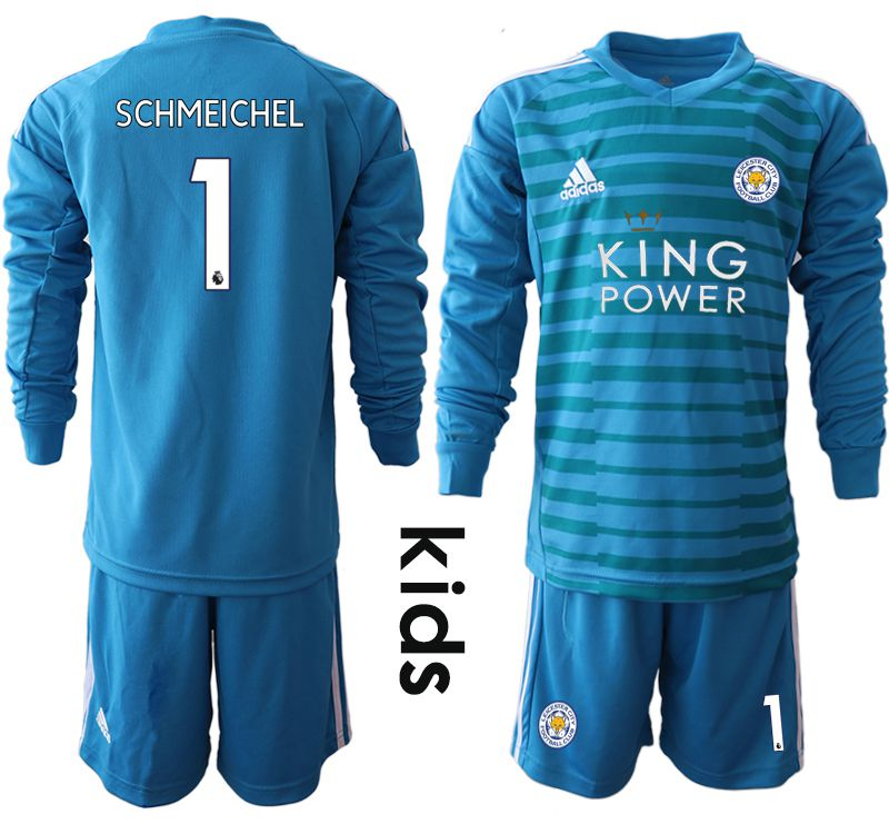 Youth 2018-2019 club Leicester City blue goalkeeper Long sleeve 1 Soccer Jerseys