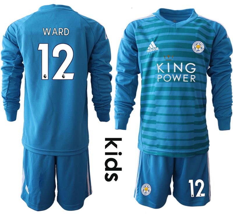 Youth 2018-2019 club Leicester City blue goalkeeper Long sleeve 12 Soccer Jerseys
