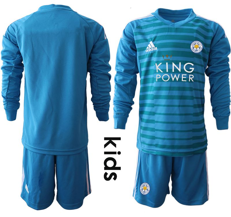 Youth 2018-2019 club Leicester City blue goalkeeper Long sleeve Soccer Jerseys