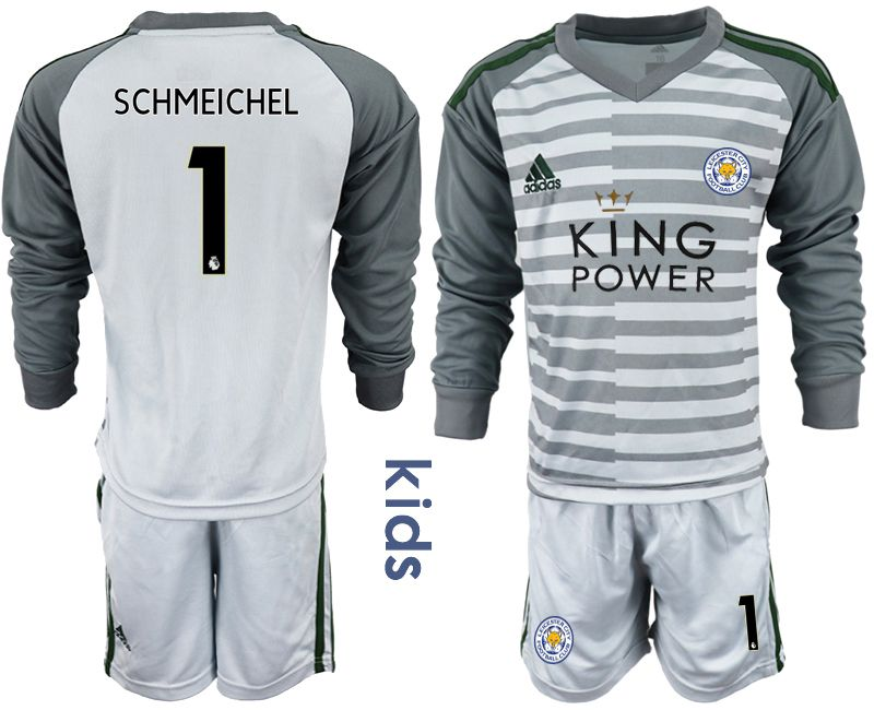 Youth 2018-2019 club Leicester City gray long sleeve goalkeeper 1 Soccer Jerseys