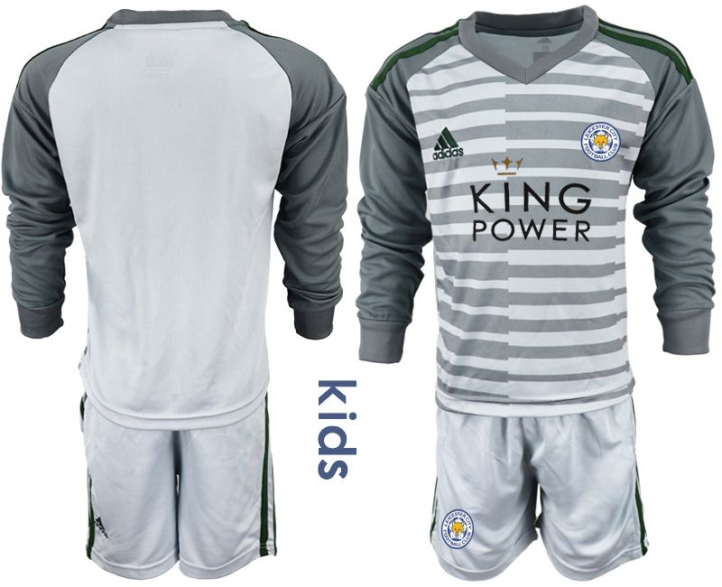 Youth 2018-2019 club Leicester City gray long sleeve goalkeeper Soccer Jerseys