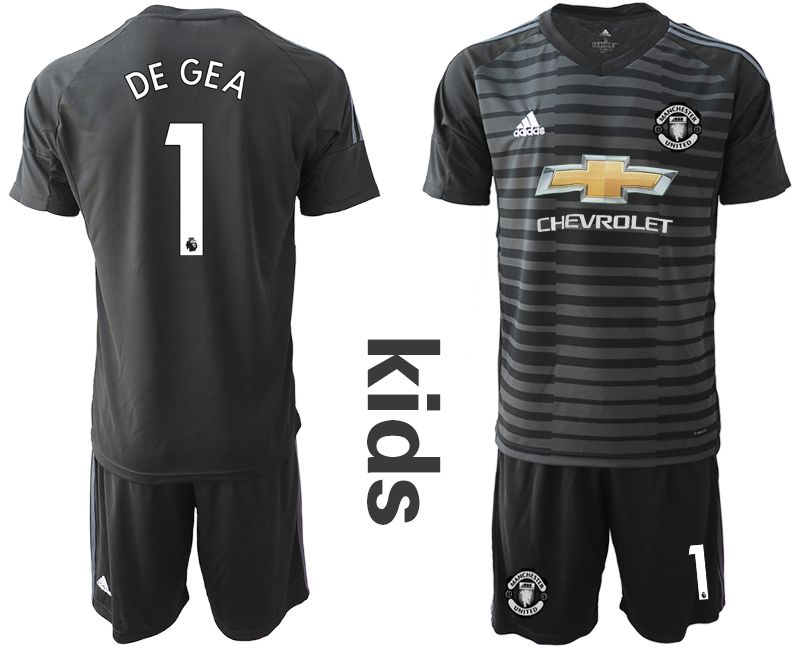 Youth 2018-2019 club Manchester United black goalkeeper 1 Soccer Jerseys