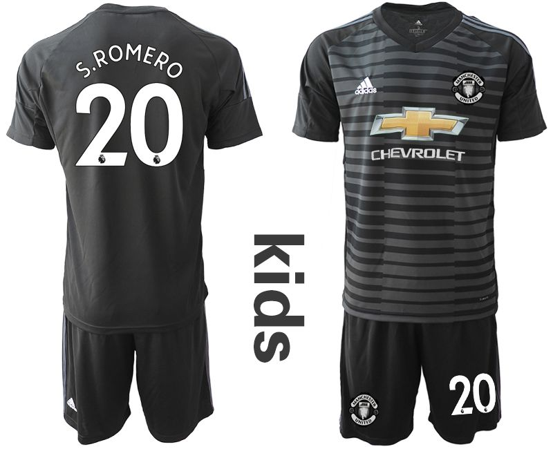 Youth 2018-2019 club Manchester United black goalkeeper 20 Soccer Jerseys