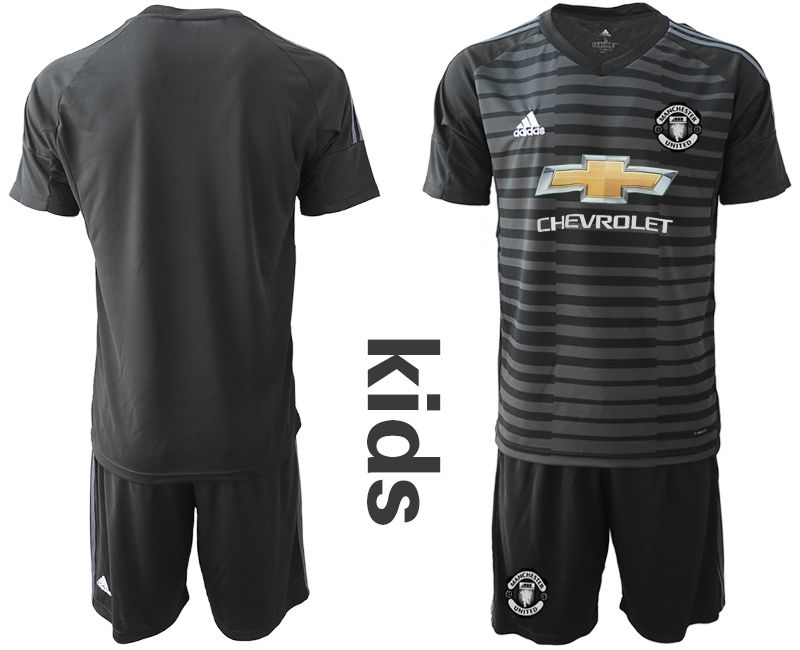 Youth 2018-2019 club Manchester United black goalkeeper Soccer Jerseys