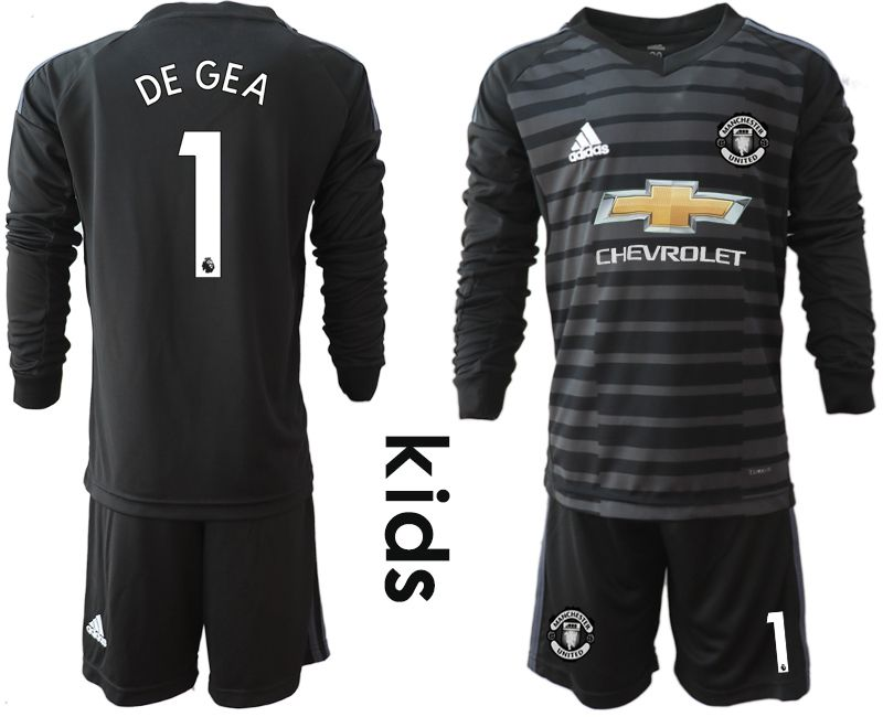 Youth 2018-2019 club Manchester United black long sleeve goalkeeper 1 soccer jerseys