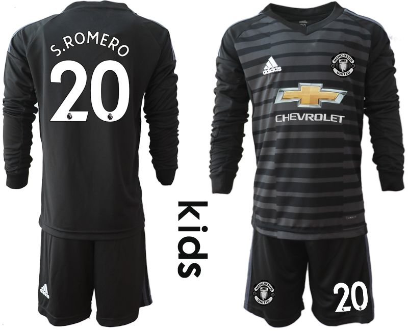 Youth 2018-2019 club Manchester United black long sleeve goalkeeper 20 soccer jerseys