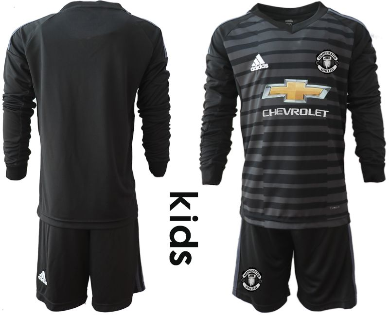 Youth 2018-2019 club Manchester United black long sleeve goalkeeper soccer jerseys